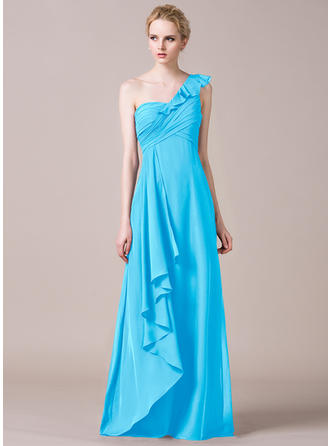 A-Line/Princess Chiffon Bridesmaid Dresses Cascading Ruffles One-Shoulder Sleeveless Floor-Length