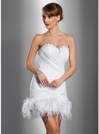 Sheath/Column Sweetheart Short/Mini Wedding Dresses With Ruffle Beading Feather Flower(s)
