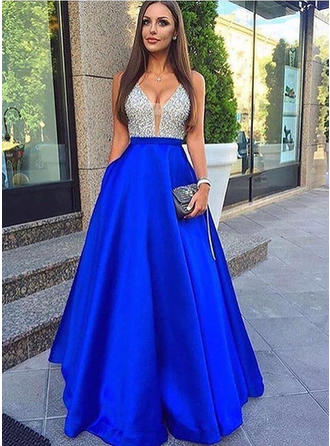 A-Line/Princess Floor-Length Prom Dresses V-neck Satin Sleeveless