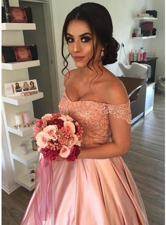 Ball-Gown Off-The-Shoulder Cathedral Train Wedding Dresses With Beading Sequins