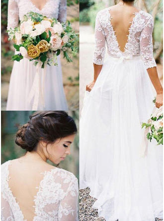 A-Line/Princess Chiffon Half Sleeves V-neck Floor-Length Wedding Dresses