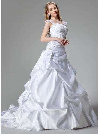 A-Line/Princess Strapless Chapel Train Wedding Dresses With Sequins
