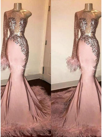 Trumpet/Mermaid One-Shoulder Sweep Train Prom Dresses With Feather