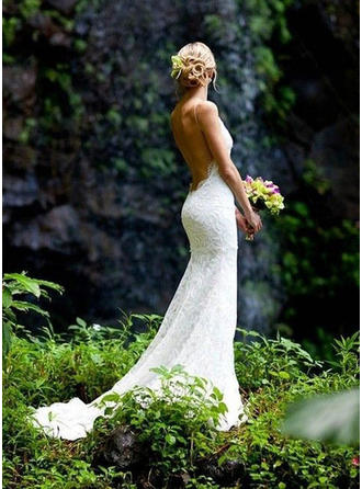 Trumpet/Mermaid V-neck Chapel Train Wedding Dresses