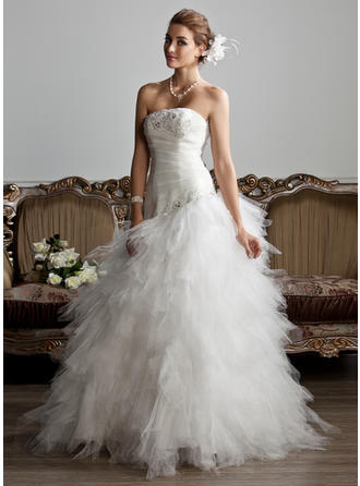 A-Line/Princess Strapless Floor-Length Tulle Wedding Dress With Ruffle Beading Appliques Lace