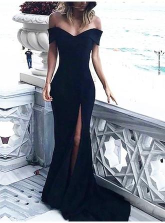 Sheath/Column Off-the-Shoulder Sweep Train Evening Dresses With Ruffle