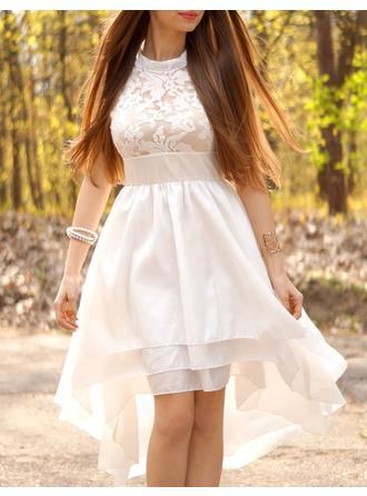A-Line/Princess Chiffon Sleeveless High Neck Asymmetrical Wedding Dresses