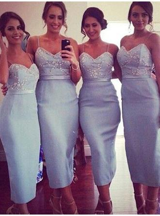 Sheath/Column Sweetheart Tea-Length Bridesmaid Dresses With Lace