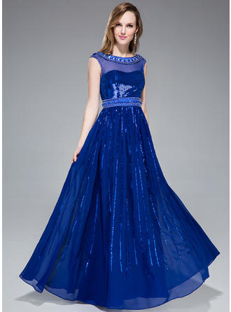 A-Line/Princess Chiffon Sequined Prom Dresses Beading Scoop Neck Sleeveless Floor-Length