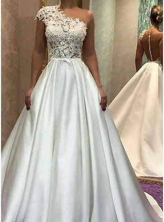 A-Line/Princess One Shoulder Sweep Train Wedding Dresses With Lace