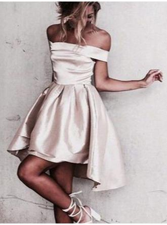 A-Line/Princess Off-the-Shoulder Asymmetrical Satin Cocktail Dresses With Ruffle