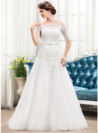 A-Line Illusion Sweep Train Tulle Lace Wedding Dress With Bow(s)