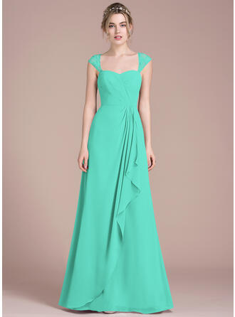 A-Line/Princess Floor-Length Chiffon Lace Bridesmaid Dress With Cascading Ruffles