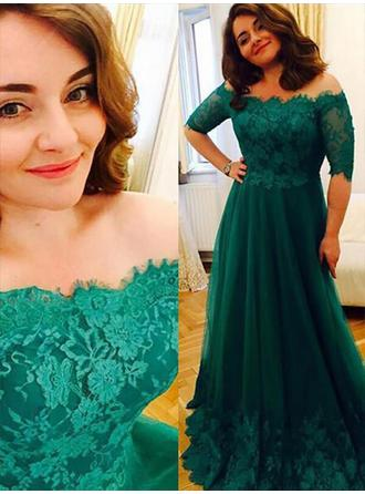 A-Line/Princess Tulle Prom Dresses Appliques Lace Off-the-Shoulder 1/2 Sleeves Floor-Length