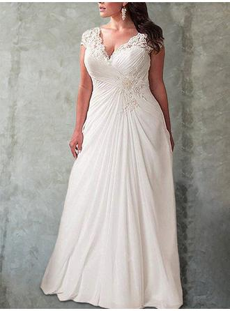 Empire V-neck Sweep Train Wedding Dresses With Ruffle Lace