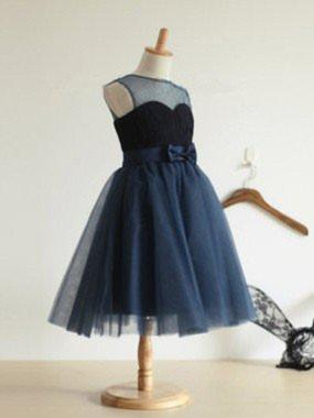 Ball Gown Scoop Neck Tea-length With Bow(s) Tulle Flower Girl Dresses