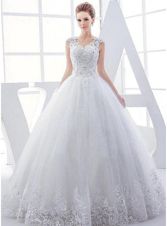 Ball-Gown Tulle Sleeveless V-neck Floor-Length Wedding Dresses