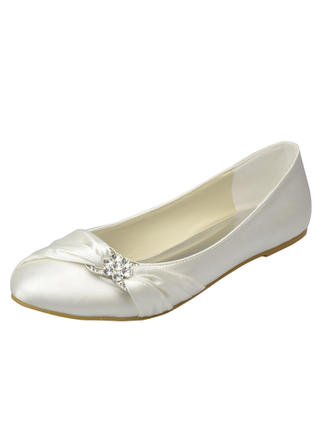 Women's Closed Toe Flats Flat Heel Satin With Rhinestone Wedding Shoes