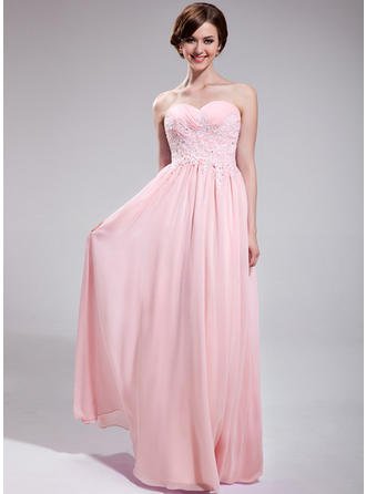A-Line/Princess Sweetheart Floor-Length Prom Dresses With Ruffle Beading Appliques Lace Sequins