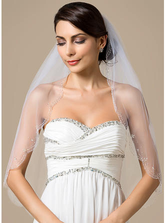 Elbow Bridal Veils Tulle One-tier Classic With Scalloped Edge/Beaded Edge Wedding Veils