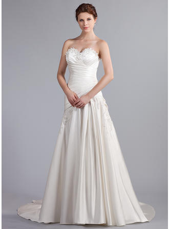 A-Line/Princess Sweetheart Cathedral Train Wedding Dresses With Ruffle Beading Appliques Lace