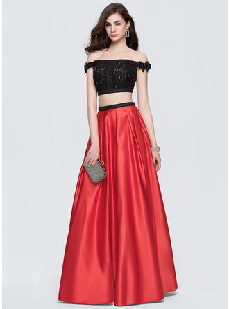 Ball-Gown Off-the-Shoulder Floor-Length Satin Prom Dresses With Beading