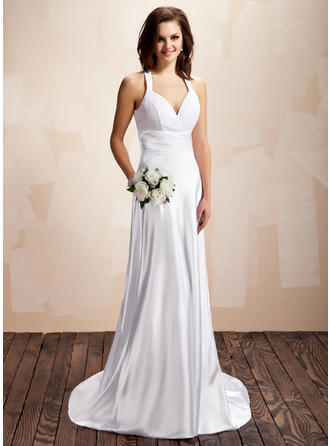 Halter A-Line/Princess Wedding Dresses Charmeuse Lace Ruffle Sleeveless Court Train