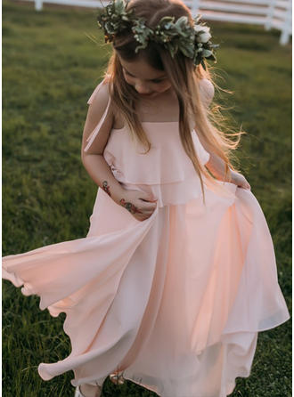 A-Line/Princess Square Neckline/Straps Floor-length With Ruffles Chiffon Flower Girl Dresses
