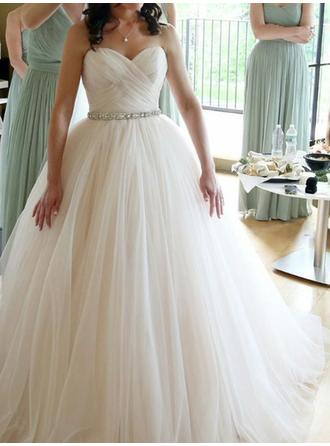 Ball-Gown Sweetheart Floor-Length Wedding Dresses With Ruffle Beading