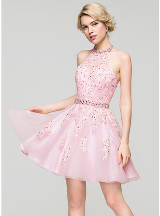 A-Line/Princess Halter Short/Mini Tulle Prom Dresses With Beading Sequins