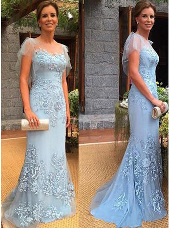 Trumpet/Mermaid Tulle Short Sleeves Scoop Neck Sweep Train Zipper Up Mother of the Bride Dresses