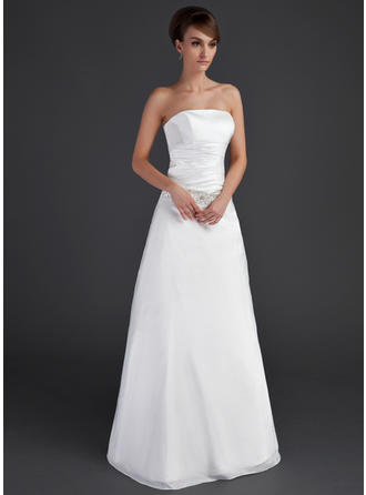 A-Line/Princess Taffeta Sleeveless Strapless Floor-Length Wedding Dresses