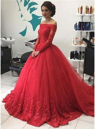 Ball-Gown Tulle Prom Dresses Off-the-Shoulder Long Sleeves Chapel Train