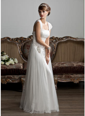 Glamorous Square A-Line/Princess Wedding Dresses Floor-Length Tulle Sleeveless