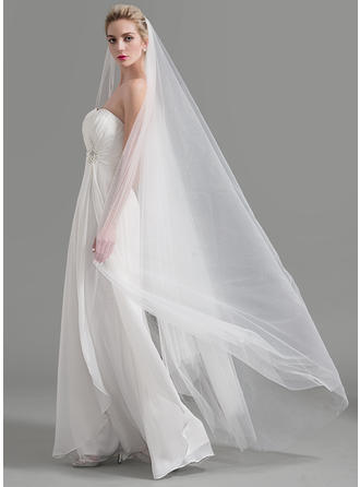 Cathedral Bridal Veils Tulle One-tier Classic/Drop Veil With Cut Edge Wedding Veils
