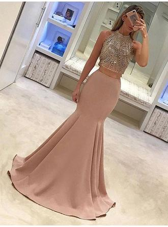 Trumpet/Mermaid High Neck Sweep Train Satin Prom Dresses With Beading