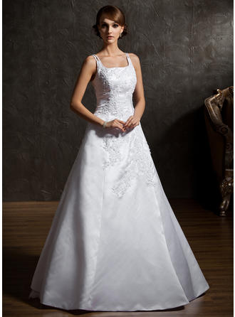 Flattering Square A-Line/Princess Wedding Dresses Floor-Length Satin Organza Sleeveless