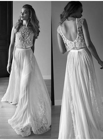 A-Line/Princess Scoop Sweep Train Wedding Dresses With Beading