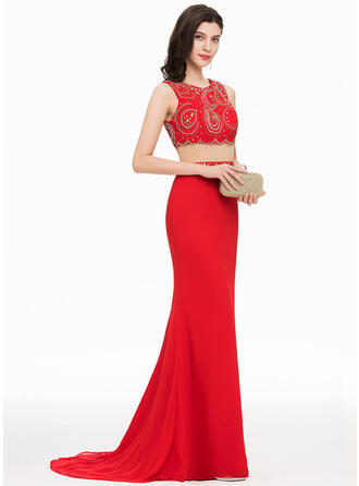Trumpet/Mermaid Scoop Neck Sweep Train Chiffon Prom Dresses With Beading Sequins