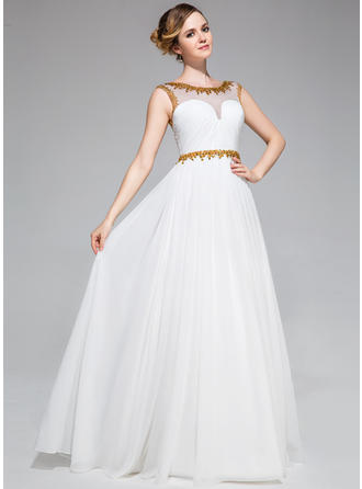 A-Line/Princess Chiffon Prom Dresses Ruffle Beading Sequins Scoop Neck Sleeveless Floor-Length