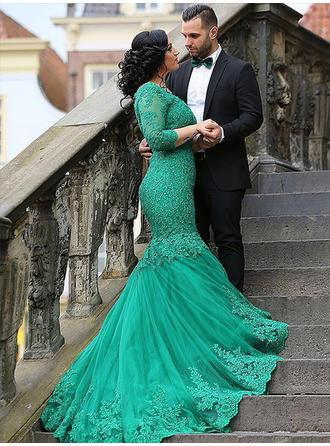 Trumpet/Mermaid Tulle Prom Dresses Appliques Lace V-neck 3/4 Sleeves Sweep Train