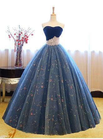 Ball-Gown Sweetheart Floor-Length Prom Dresses With Beading Appliques Lace