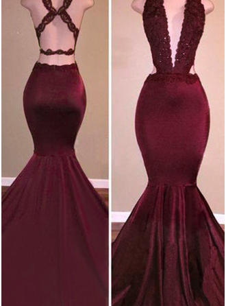 Trumpet/Mermaid V-neck Sweep Train Evening Dresses With Beading