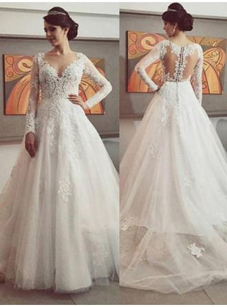 Ball-Gown Tulle Long Sleeves Scoop Court Train Chapel Train Wedding Dresses