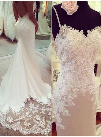 Chic V-neck Trumpet/Mermaid Wedding Dresses Court Train Charmeuse Sleeveless