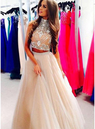 A-Line/Princess Prom Dresses Beading High Neck Sleeveless Floor-Length
