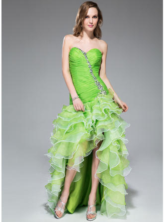 A-Line/Princess Sweetheart Asymmetrical Prom Dresses With Beading Sequins Cascading Ruffles