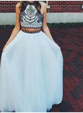 A-Line/Princess High Neck Floor-Length Prom Dresses With Beading