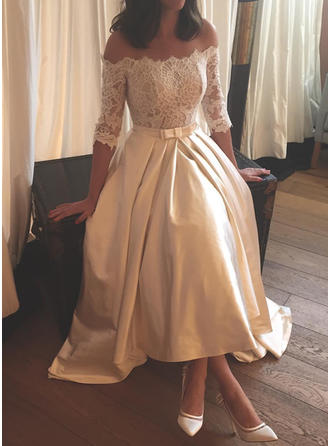 Flattering Off-The-Shoulder A-Line/Princess Wedding Dresses Asymmetrical Sweep Train Satin Half Sleeves