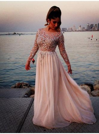 A-Line/Princess Sweep Train Prom Dresses Scoop Neck Chiffon Long Sleeves